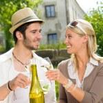 Restaurant terrace elegant couple celebrate sunny day — Stock Photo