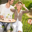 Restaurant terrace elegant couple romantic happy — Stock Photo