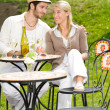 Restaurant terrace elegant couple celebrate sunny day — Stock Photo #6138798