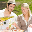 Restaurant terrace elegant couple celebrate sunny day — Stock Photo #6138801
