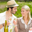 Restaurant terrace elegant couple celebrate sunny day - Zdjęcie stockowe