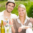 Restaurant terrace elegant couple celebrate sunny day - Stock Photo