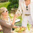 Terrace sunny restaurant Italian young dining - Stock Photo
