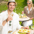 Terrace sunny restaurant Italian young man dining - Stock Photo