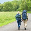 Hiking young couple backpack asphalt road countryside — Stock Photo #6138852