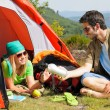 Camping young couple with tent summer countryside — Stock Photo
