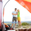 Camping young couple outside tent panoramic view — Stock Photo #6139003