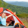 Camping young couple sunset tent climbing gear — Stock Photo #6139011