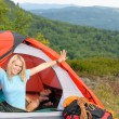 Camping young couple sunset tent climbing gear — Stock Photo