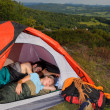 Camping young couple sleeping tent climbing gear — Stock Photo #6139022