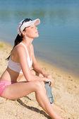 Summer sport fit woman enjoy sunset — Stock Photo