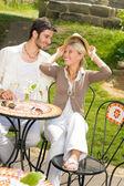 Restaurant terrace elegant couple romantic happy — Stock Photo