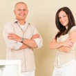 Casual businesswoman attractive with man colleague — Stock Photo #6212368