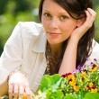 Summer garden flower beautiful woman romantic look — Stock Photo #6441120