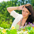 Summer garden flower beautiful woman romantic look — Stock Photo