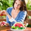 Stock Photo: Fresh cherries melon woman garden summer terrace
