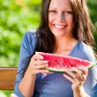 Fresh melon smiling woman sunny day sunny day — Stock Photo