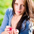 Royalty-Free Stock Photo: Fresh raspberries hold hand cheerful smiling woman