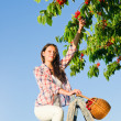 Cherry tree harvest summer woman sunny countryside — Stock Photo