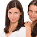 Two girlfriends beautiful model smiling portrait — Stock Photo