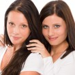 Two girlfriends beautiful model smiling portrait — Stock Photo