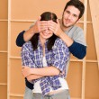 New house young happy couple closed eyes — Stock Photo