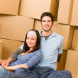 Moving new home young couple sitting floor — Stock Photo #6696222