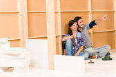 Home improvement young couple relax building wall — Fotografia Stock