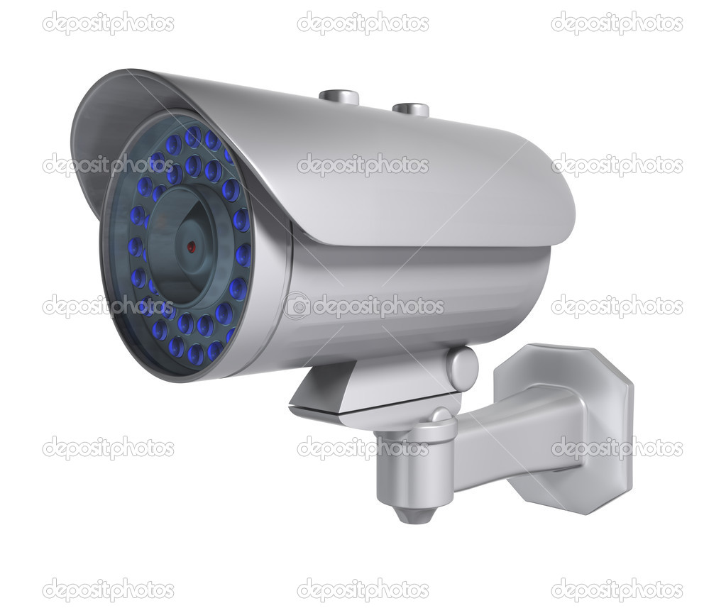 Security camera, Isolated on a white background. Clipping path included. — Stock Photo #6304359