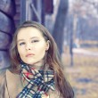 Lady wearing in scarf — Stock Photo