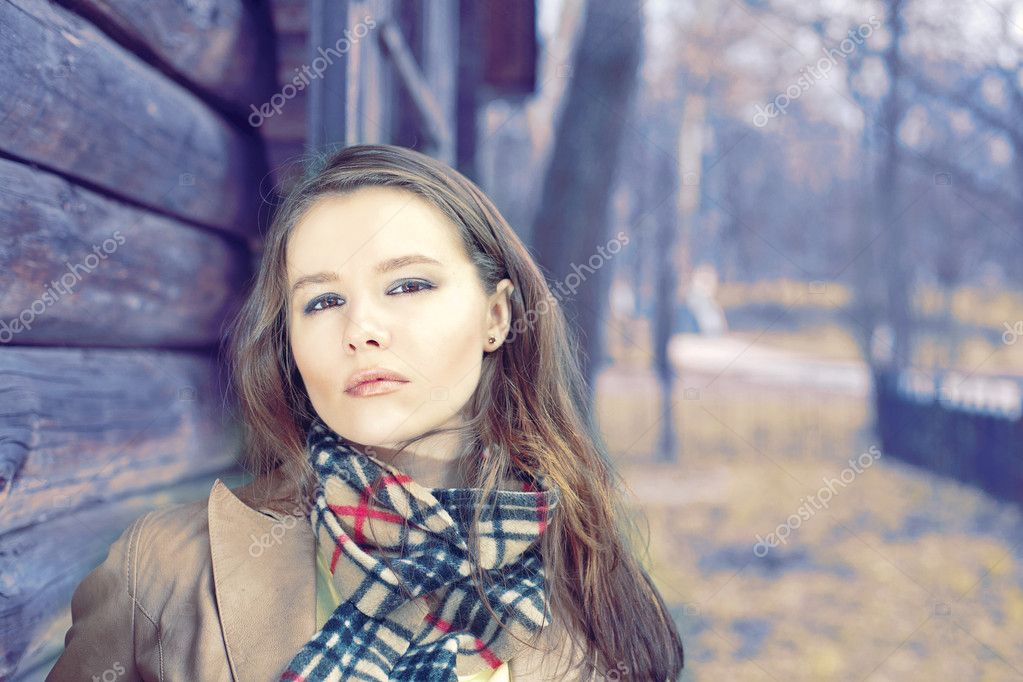 Lady wearing in scarf  Stock Photo #5647979