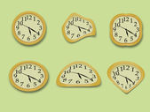 Yellow wall clock vector illustration — Foto de Stock
