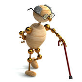 3d wood man old with walking stick — Stock Photo