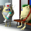 3d character and doctor in the hospital - Stock Photo