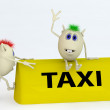 Stock Photo: 3d model of taxi symbol with puppets