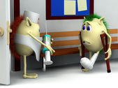3d character and doctor in the hospital — Stock Photo