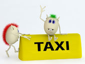 3d model of the taxi symbol with puppets — Stock Photo