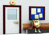 3d character having teeth pain in hospital — Stock Photo