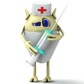 3d character doctor is holding syringe — Stock Photo