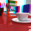 Stock Photo: 3D stereoscopic office desk with laptop and coffee