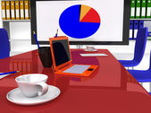 Konferenční místnost s stůl a pracovní zařízení — Stock fotografie