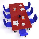 Konferenzraum, gefüllt mit schreibtisch und stühle — Stockfoto