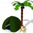 Puppet sitting near green tent under palm - Stock Photo