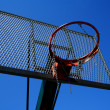 Basketball basket zoomed foto on blue sky — Stock Photo