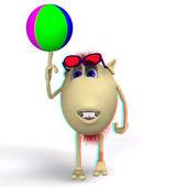 игра кукольный цветной шар на белом фоне — Стоковое фото