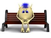 Haired marionet denken op bruin bankje — Stockfoto