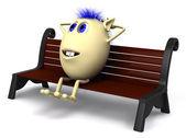 Vlasy loutka na lavičce v parku hnědá — Stock fotografie