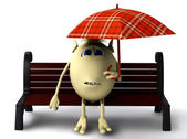 Puppet hide itself under umbrella from rain — Stock Photo