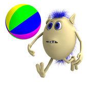 Haired 3d marionett leker med färgglad boll — Stockfoto