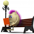 Stock Photo: Haired puppet using laptop on brown bench